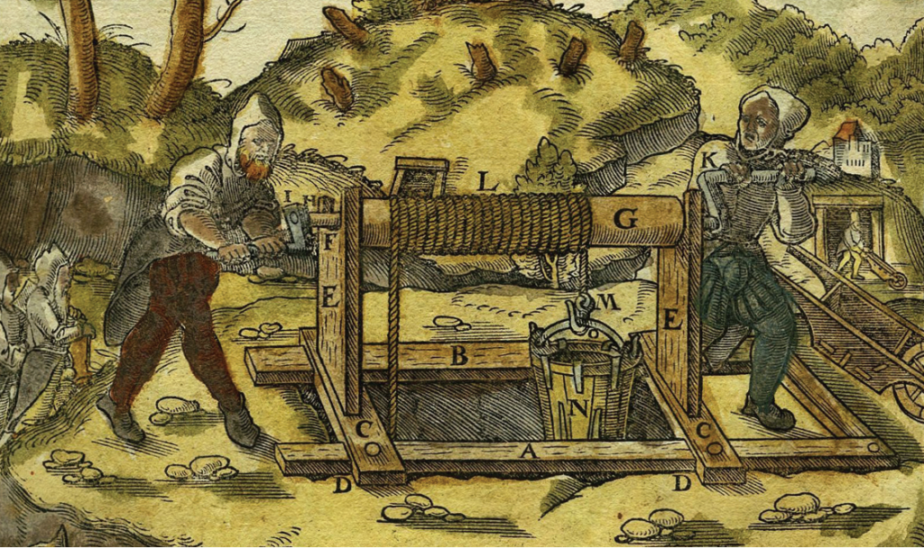 Illustration of mining in earlier ages